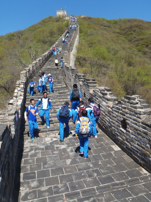 Climbing up the Great Wall in China