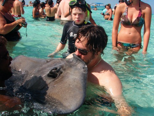 Kissing a stingray - Grand Caymen