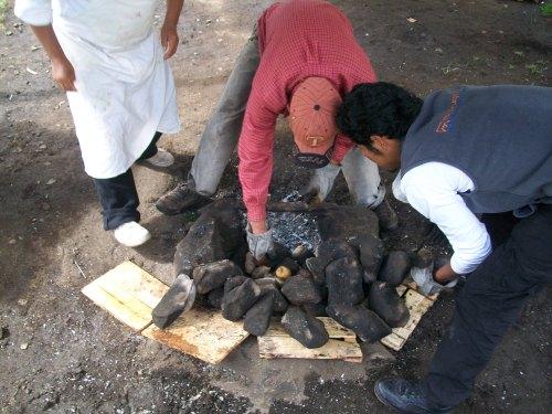 Preparing the hot rocks