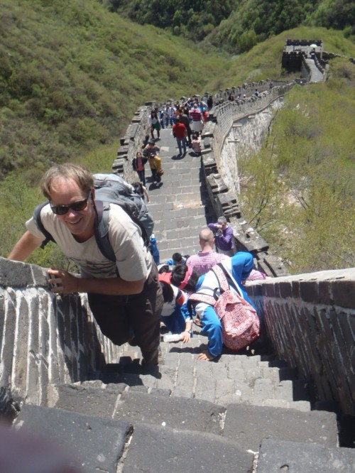 Climbing to the top of the Great Wall