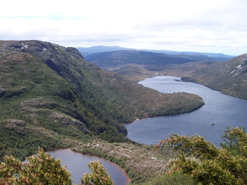 Dove Lake and Lake Wilks from the face of Cradle Mountain