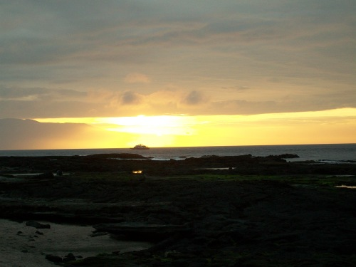 Sunset over the Horizon in the Galapagos Islands