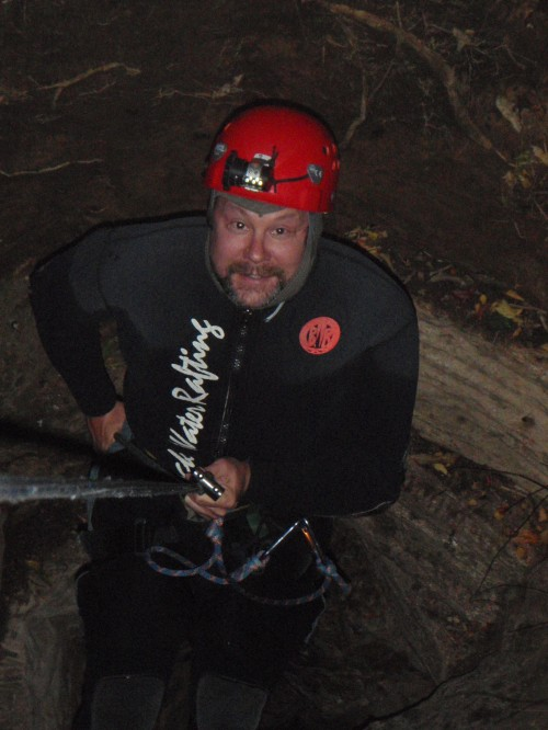 Abseiling 100 m into the earth