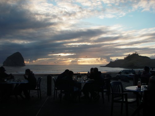 Sunset dining at the Pelican Pub, Pacific City, Oregon